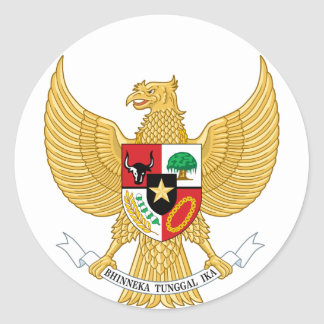 Indonesia, ID, Coat of arms Round Sticker