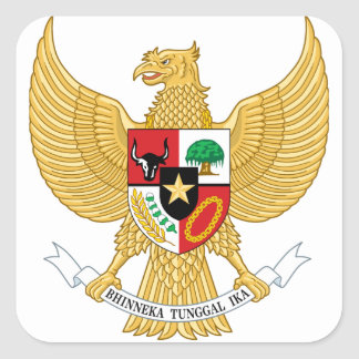 Indonesia, ID, Coat of arms Square Sticker