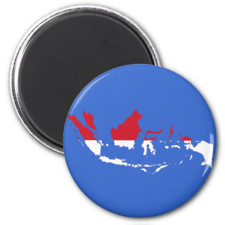 Indonesia ID, Jakarta, Flag Map 6 Cm Round Magnet