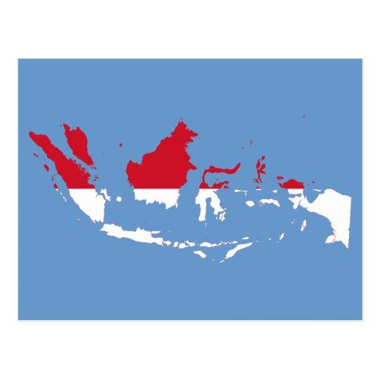 Indonesia ID, Jakarta, Flag Map Postcard