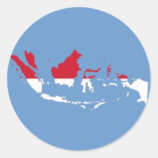 Indonesia ID, Jakarta, Flag Map Round Sticker