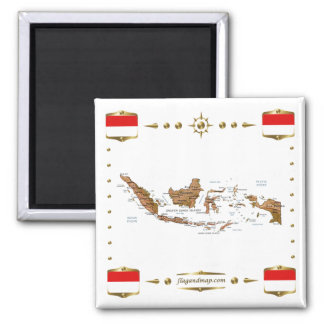 Indonesia Map + Flags Magnet