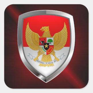 Indonesia Metallic Emblem Square Sticker
