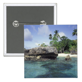 Indonesia. Rock formations along shore 15 Cm Square Badge