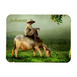 Indonesia Scenic landscape with Buffalo and Farmer Rectangular Photo Magnet