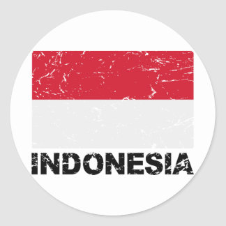 Indonesia Vintage Flag Classic Round Sticker