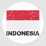 Indonesia Vintage Flag Round Stickers
