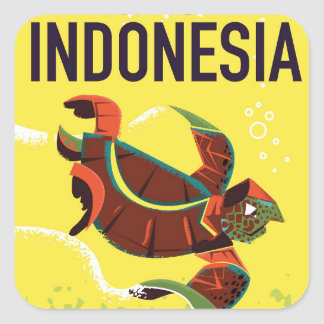 Indonesia Vintage Travel Poster Print Square Sticker
