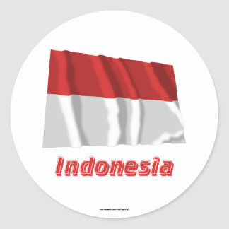 Indonesia Waving Flag with Name Classic Round Sticker