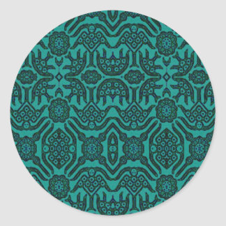 Indonesian Batik Green Classic Round Sticker