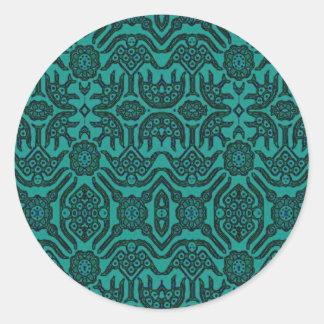 Indonesian Batik Green Round Sticker