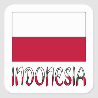 Indonesian Flag and Indonesia Square Sticker