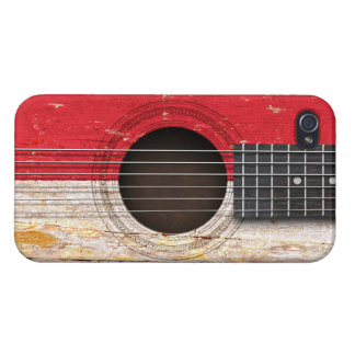 Indonesian Flag on Old Acoustic Guitar Case For iPhone 4