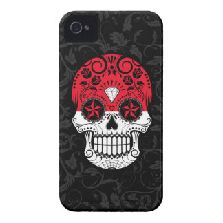 Indonesian Flag Sugar Skull with Roses iPhone 4 Case-Mate Case