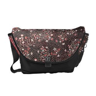 Indonesian Red Flowers Batik Messenger Bags