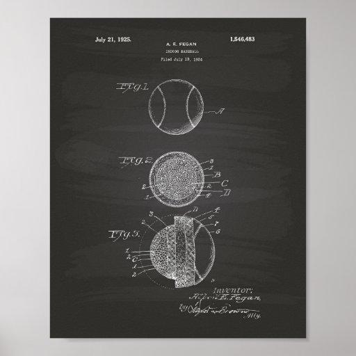 Indoor Baseball 1925 Patent Art Chalkboard Poster