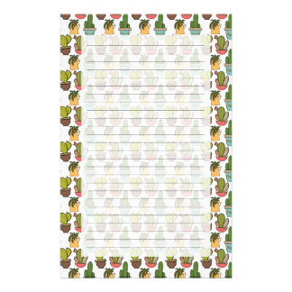 Indoor Cactus & Succulents In Pots Pattern Stationery