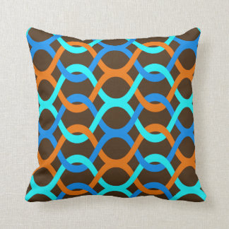 indoor or outdoor retro blue aqua orange brown cushion
