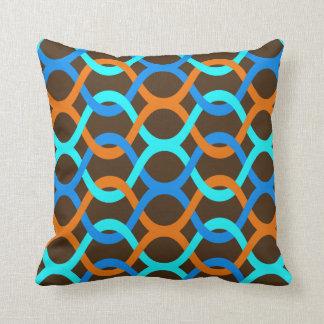 indoor or outdoor retro blue aqua orange brown throw pillow