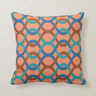 indoor or outdoor retro brown blue aqua rust peach throw pillow