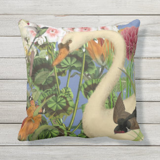 Indoor/Outdoor Swan Throw Pillow/Customizable Cushion