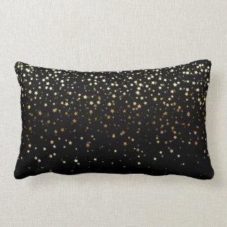 Indoor Petite Golden Stars Lumbar Pillow-Black Lumbar Cushion