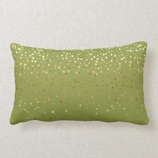 Indoor Petite Golden Stars Lumbar Pillow-Olive Lumbar Cushion