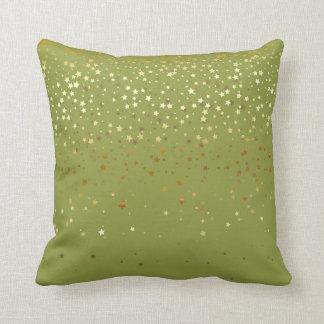 Indoor Petite Golden Stars Square Pillow-Olive Cushion