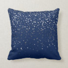 Indoor Petite Silver Stars Square Pillow-Dark Blue Cushion