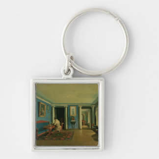 Indoors. Drawing Room with Columned Entresol Silver-Colored Square Key Ring