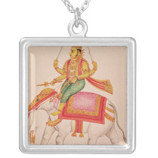 Indra, God of Storms, riding on an elephant Silver Plated Necklace