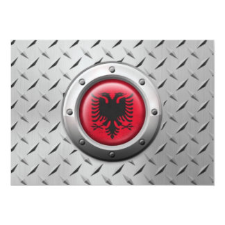 Industrial Albanian Flag with Steel Graphic 13 Cm X 18 Cm Invitation Card