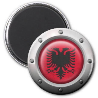 Industrial Albanian Flag with Steel Graphic Magnet