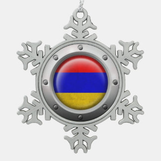 Industrial Armenian Flag with Steel Graphic Pewter Snowflake Decoration