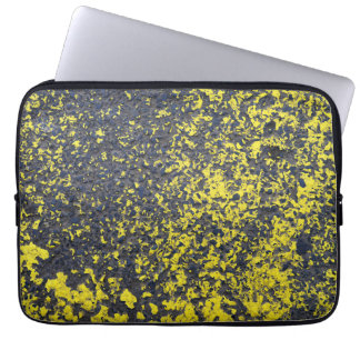 industrial asphalt paint abstract street urban yel laptop sleeve