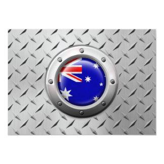 Industrial Australian Flag with Steel Graphic Custom Invitations
