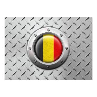 Industrial Belgian Flag with Steel Graphic Custom Invitations
