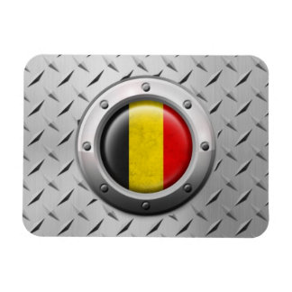 Industrial Belgian Flag with Steel Graphic Magnets