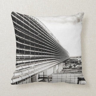 Industrial Building Black and White Throw Pillow