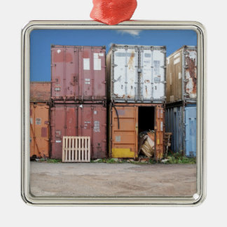Industrial cargo container for shipping Silver-Colored square decoration