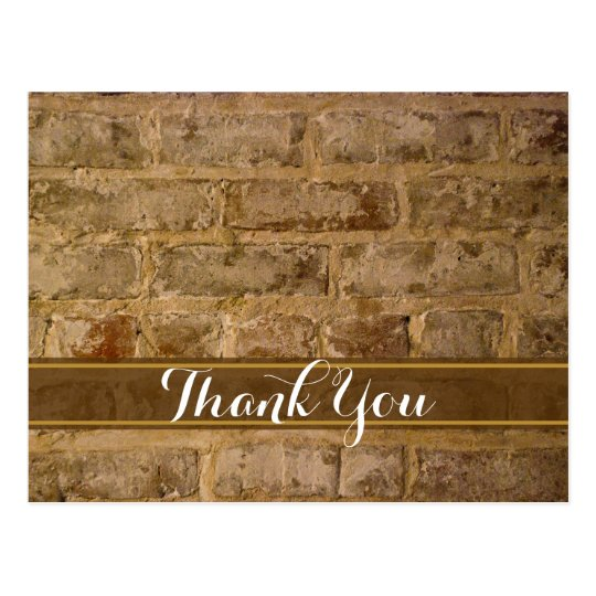 Industrial Chic Bricks Thank You Postcard