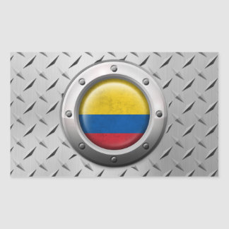 Industrial Colombian Flag with Steel Graphic Rectangular Sticker