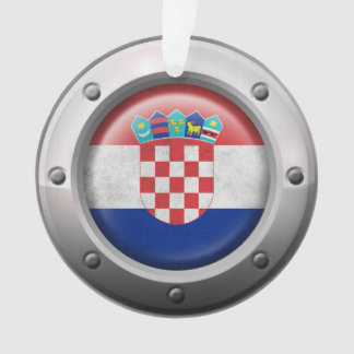 Industrial Croatian Flag with Steel Graphic Ornament
