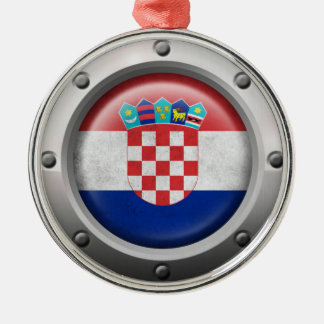 Industrial Croatian Flag with Steel Graphic Silver-Colored Round Decoration