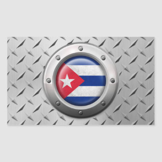 Industrial Cuban Flag with Steel Graphic Rectangular Sticker
