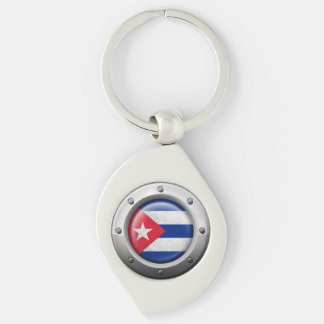 Industrial Cuban Flag with Steel Graphic Silver-Colored Swirl Key Ring