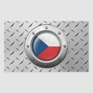 Industrial Czech Republic Flag with Steel Graphic Rectangular Sticker