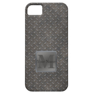 Industrial Diamond Cut Metal Look in Grey & Beige Barely There iPhone 5 Case