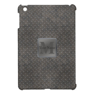 Industrial Diamond Cut Metal Look in Grey & Beige Cover For The iPad Mini