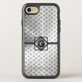 Industrial Diamond Plate Steel, Monogrammed OtterBox Symmetry iPhone 8/7 Case